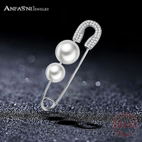 ANFASNI 2017 New Arrival 925 Sterling Silver Tiny CZ Pave Simulated Pearl Pin Earrings For Women