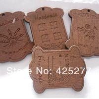 Wholesale 4 Design 44x55mm ZAKKA Wood Blank Thread Ribbon Twine SPOOL Bobbin Reel Organizer Free Shipping
