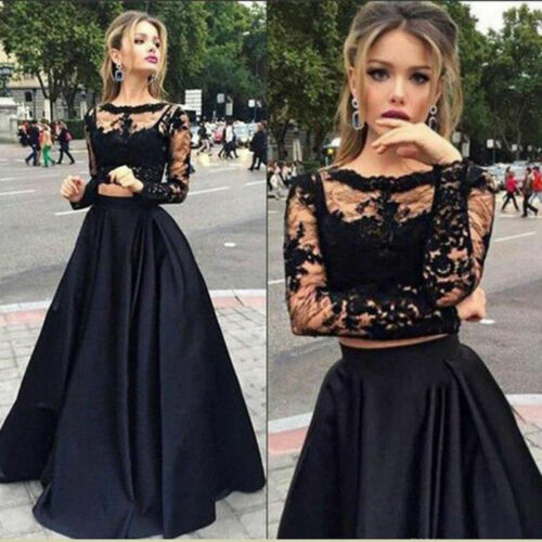 Long-Dress Wedding Evening-Party-Cocktail Black 2piece-Suit Women Formal Lace