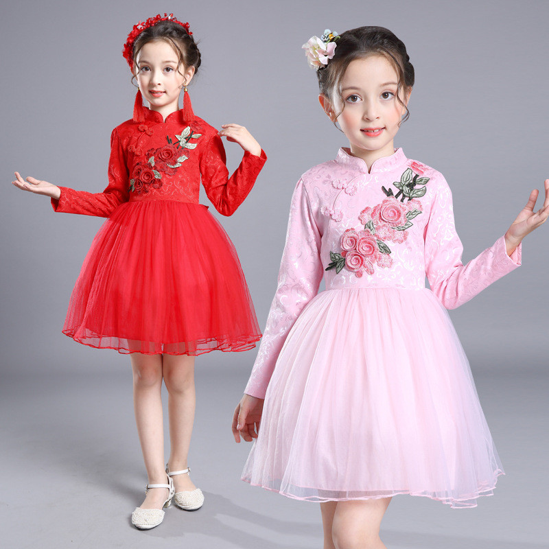 Chinese Style Qipao Girl Dress New Year Christmas Party Cheongsam Gift Children Clothes Long Sleeve Embroidery Princess Dress dress coat traditional chinese style qipao full sleeve cheongsam costume party dress quilted princess dress cotton kids clothing