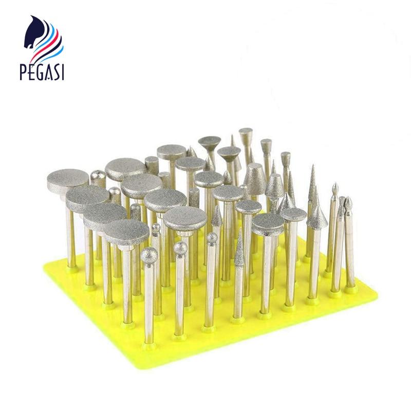 PEGASI 50pcs 1/8 Shank Diamond Grinding Bit Grinder Head Lapidary Glass Burr Drill Bit Set For Ceramics Tile Glass Dremel Rotar pegasi high quality 5pcs 50 sizes hss