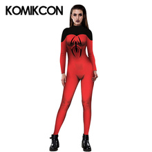 Spider Women Cosplay Costume Superhero Spiderman Sexy Printed Jumpsuit For Girls Halloween Party Adult Bodysuit