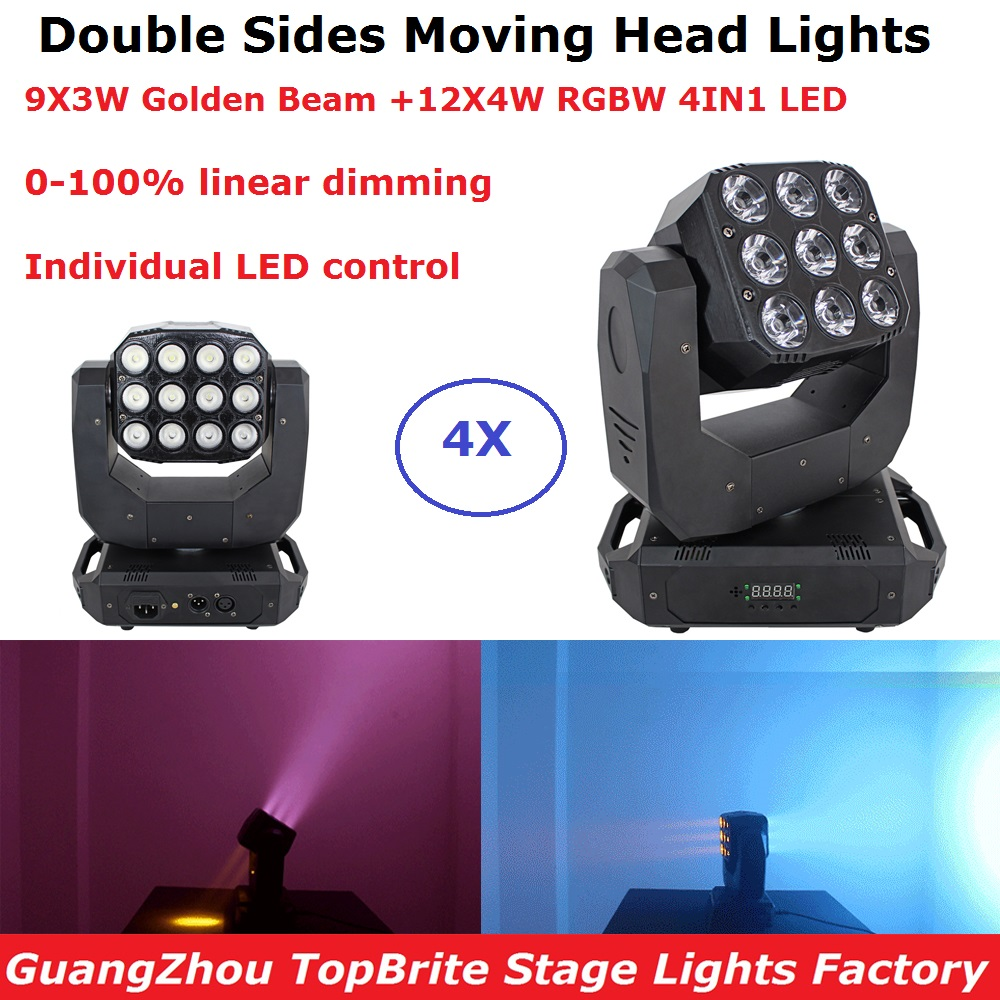 LED Double Sides Moving Head Lights 9X3W Golden Beam With 12X4W RGBW 4IN1 LED Beam Wash Moving Head Lights 90-240V For XMAS DjLED Double Sides Moving Head Lights 9X3W Golden Beam With 12X4W RGBW 4IN1 LED Beam Wash Moving Head Lights 90-240V For XMAS Dj