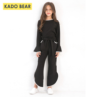 Autumn 2018 Girls Outfits New Fashion Cute Kids Clothes Solid Black Long Sleeve Children Clothing Set Pullover Tops Flare Pants