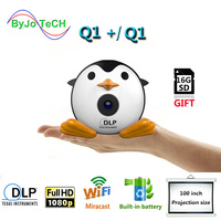 ByJoTeCH Q1 Or Q1 Plus Mini Mobile Projector Handheld Micro DLP Home Theater Proyector Add 16G micro SD card gift