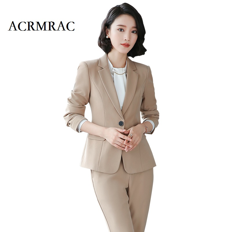ACRMRAC Women Long sleeves Solid color fashion temperament Slim Single Button OL Formal Pant Suits business attire