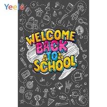 Yeele Blackboard Chalk Drawing Welcome Back to School Photography Backgrounds Customized Photographic Backdrops for Photo Studio