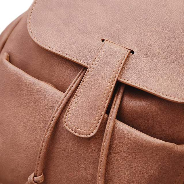 446fdeaa404c Women Backpack Retro Fashion PU Leather Bag For Teenage Girls School Backpacks  Black Rucksack Brown Solid