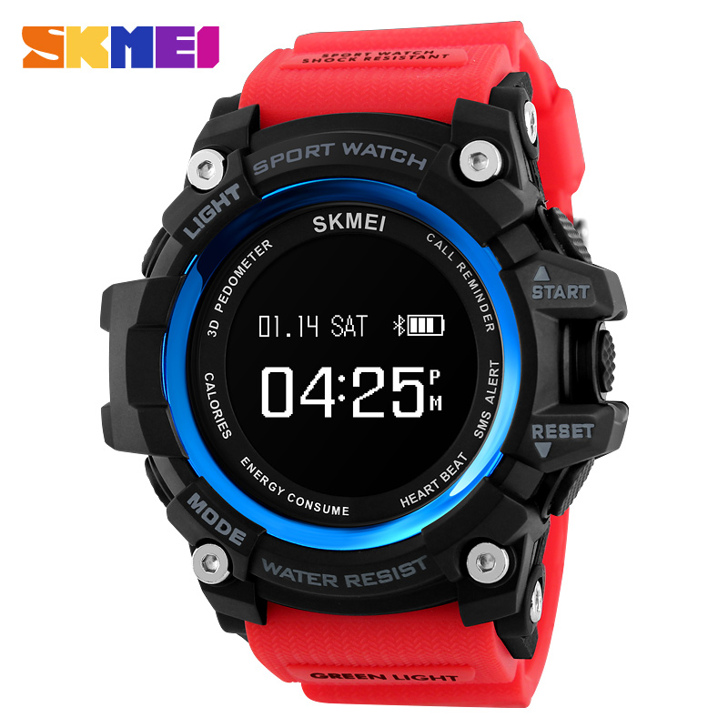 Bluetooth Men Smart Watch Heart Rate Sport Watches Pedometer Calorie rechargeable Digital Wristwatch Relogio Masculino SKMEI mens smart watch rechargeable heart rate monitor bluetooth watch men pedometer calories chronograph digital sports watches skmei