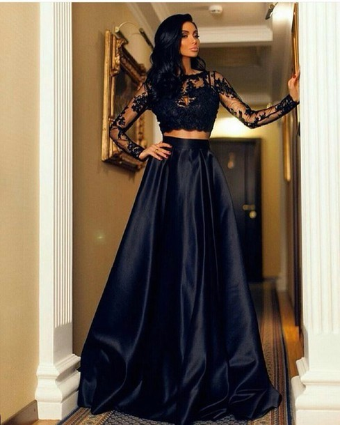 Cecelle-2016-Black-Long-Sleeves-2-Two-Pieces-Lace-Satin-Prom-Dresses-Long-Appliques-See-Through