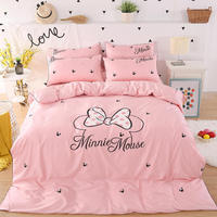romantic mickey minnie mouse head bow comforter beddings set for for kids bedroom decor Egyptian cotton duvet cover queen size