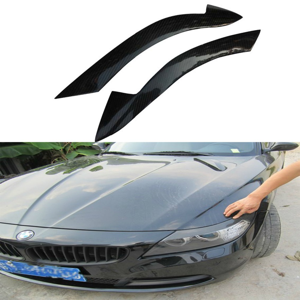 Z4 Carbon Fiber Car Styling Headlight Eyebrows  Head Lamp cover trim sticker for BMW 2009-2013 isincer car headlight lens for bmw f30 headlamp cover case shell lamp assembly f30 f31 2013 2016 car styling accessary