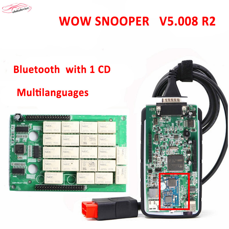 2018 NEC Relays wow snooper with 5.008 R2 Bluetooth Diagnostic-tool TCS CDP MAULTIDIAG PRO NEW VCI MVDIAG Free Shipping