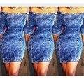 2016 nuevo llega la famosa marca de bodycon dress de la raya vertical de cuello denim mujer short dress sy5162