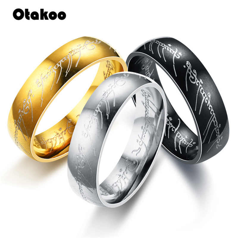 Otakoo 2018 New Stainless Steel One Ring of Power the Lord of One Ring Lovers Women Men Fashion Jewelry Wholesale Free Shipping