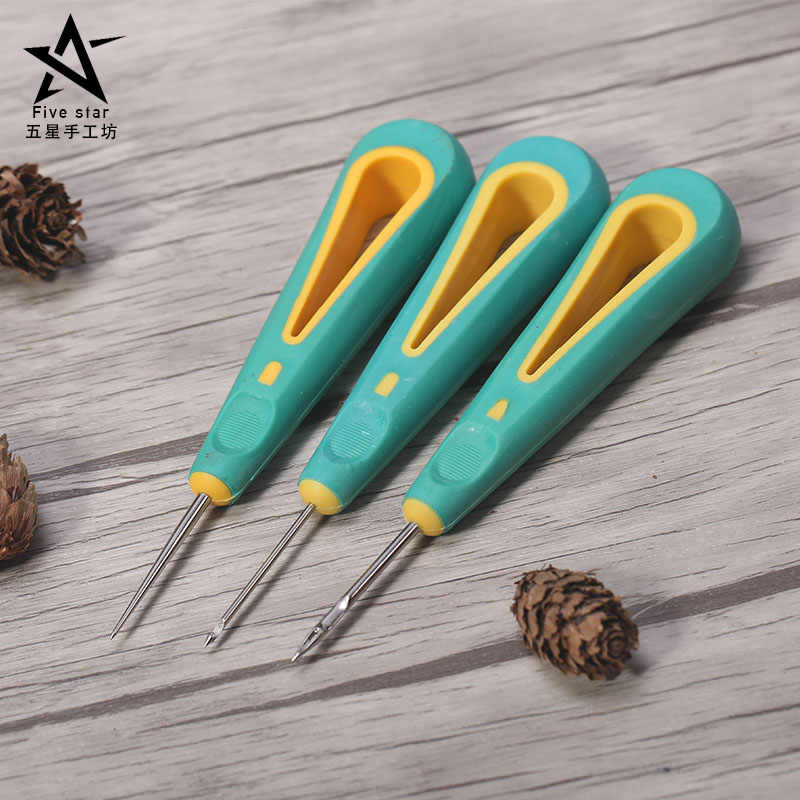 Sewing Awl Hand Stitcher Shoe Canvas Leather Repair Tool for DIY Craft Leather, Straight Needle Curved Needle and Hole Needle
