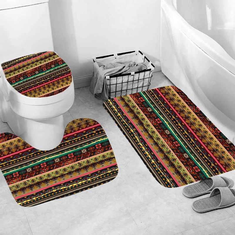 Nova 4Pcs Casa Banheiro Decor Set Fresco Fundo Branco Flor Elefante Padrão Tampa de Assento Do Vaso Sanitário Conjunto Esteira de Banho + sho à prova d' água