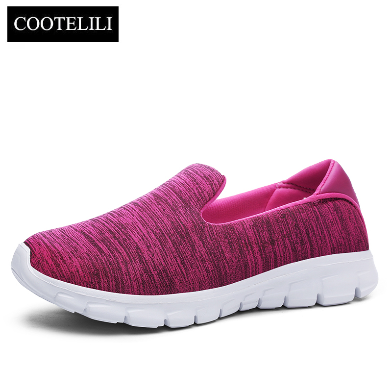 COOTELILI Women Sneakers Platform Casual Shoes Woman Flats Slip on Comfortable Loafers Ladies Green Gray Pink Plus Size 40 41 42 akexiya casual women loafers platform breathable slip on flats shoes woman floral lace ladies flat canvas shoes size plus 35 43