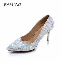 FAMIAO Femme Sexy De Noce Chaussures Or Argent 2018 Femmes Pompes Bling Haute Talons Femmes Pompes Glitter Chaussures À Talons Hauts