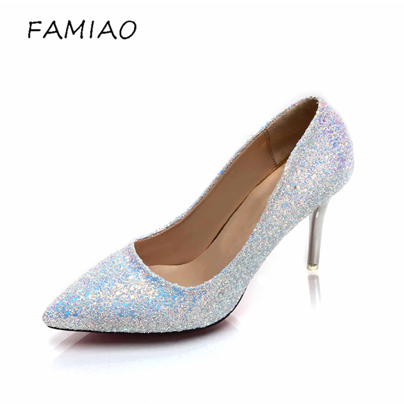 FAMIAO Woman Sexy Wedding Party Shoes Gold Silver 2018 Women Pumps Bling High Heels Women Pumps Glitter High Heel Shoes children microphone handheld karaoke microphone usb ktv player mic speaker kids toys for singing toy music playing
