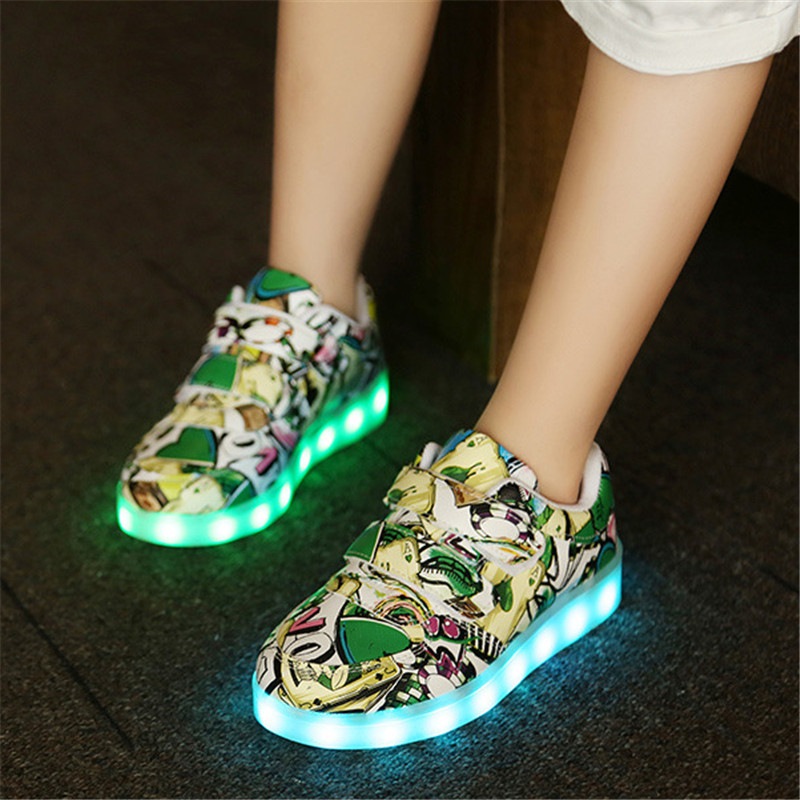 все цены на USB Charging Basket Led Children Shoes With Light Up Kids Casual Krasovki Luminous Sneakers Boys&Girls illuminated Glowing Shoes онлайн