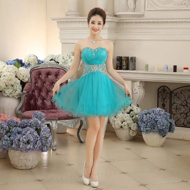Online Shop ruthshen Short Prom Dresses Cheap 2018 Turquoise Teens Formal  Homecoming Party Dress Bling Bling Vestido De Graduacion  9dac45ea4bda