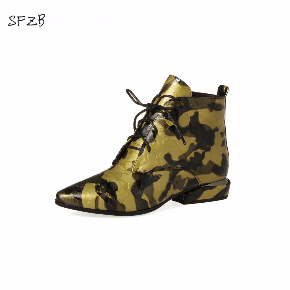 SFZB 2017 NEW Women Ankle Boots Genuine Full Grain Leather Lace Up High Heel Pumps Round Toe New Fashion Woman Shoe only true love women ankle boots full grain leather high square heel round toe shoes woman black