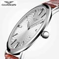 2016 Nueva Llegada de Los Hombres de Cuarzo Relojes de Primeras Marcas de Lujo GUANQIN impermeable Delgada Correa de Cuero Adolescentes Reloj relogio masculino Reloj