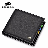 BISON DENIM Leather Men Wallet Brand Luxury Leather Wallets Office Male Wallet Mature Man Bifold Wallet