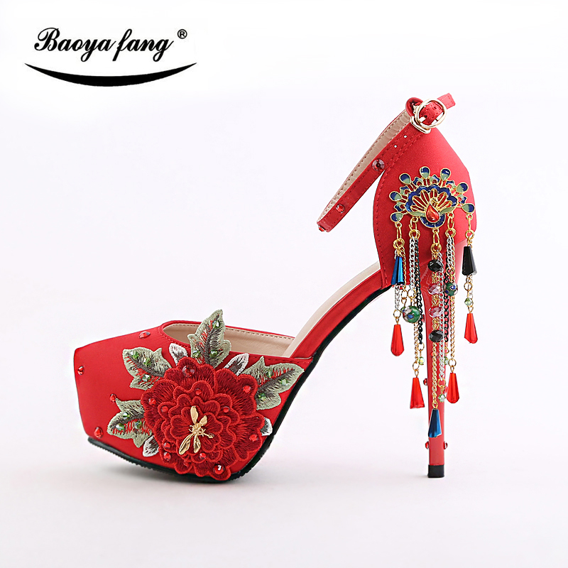 BaoYaFang New arrival Red Womens wedding shoes Red sole Tassel Ankle Strap woman lace-up shoes China style Buckle Pumps