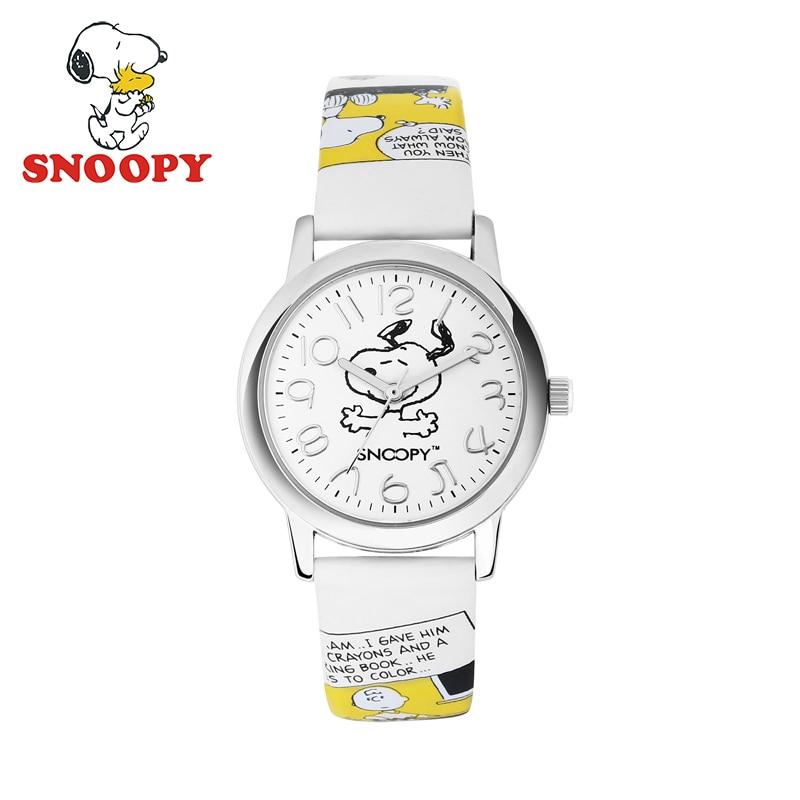 2017 Snoopy Kids Watch Children Watch Casual Fashion Cute Quartz Wristwatches Girls Boys Leather clock