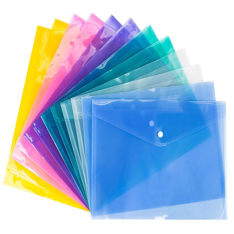 Hot 1Pc A4 Clear Document Bag Paper File Folder Stationery School Office Supplies Case Legal Paper Contract Snap File Bags Clips