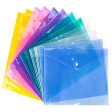 Hot 1Pc A4 Clear Document Bag Paper File Folder Stationery School Office Supplies Case Legal Contract Snap Bags Clips
