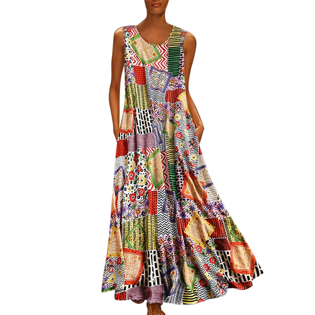 Womens Maxi Long Dress Summer Vintage Style Printed Loose Dressess Casual O Neck Sleeveless Draped Pleated Vestidos Plus Size