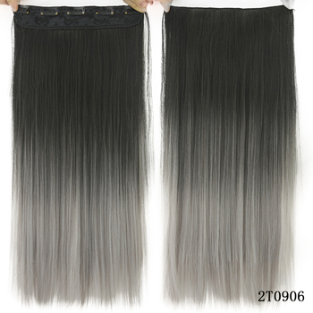 Soowee Long Straight Black to Gray Natural Color Women Ombre Hair High Tempreture Synthetic Hairpiece Clip in Hair Extensions 2