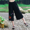 Fashion New Spring And Summer Cotton Linen Loose Casual Pants Female Wide Leg Pant Calf Length Trousers Women
