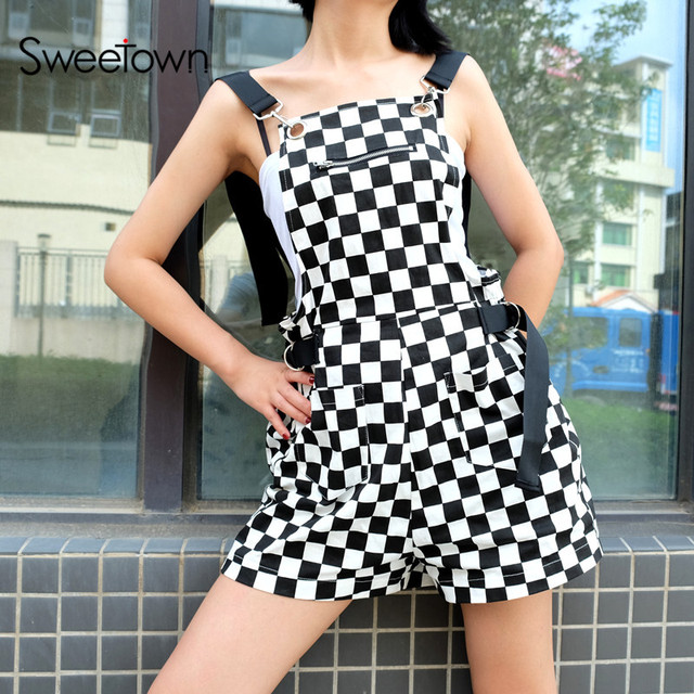 bcd17a1a04b Sweetown Checkerboard Jumpsuit Short Korean Style Women Autumn 2018 Playsuit  Overalls Streetwear Cotton Rompers Womens Jumpsuit