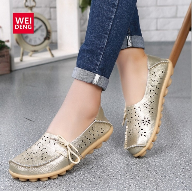 3eeabaae85a WeiDeng Genuine Leather Flat Shoes women Gommino Moccasin Loafers Leisure  Lady Slip On Cow Driving Fashion Ballet Boat Shoes