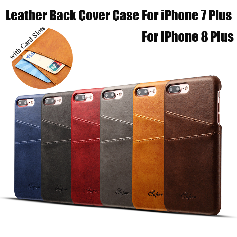 KIP7P1158_6_Slim Leather Back Cover For iPhone 7 8 Cow Case Ultra Thin Wallet Card Holder Back Covers For iPhone 7 Plus 8 Plus