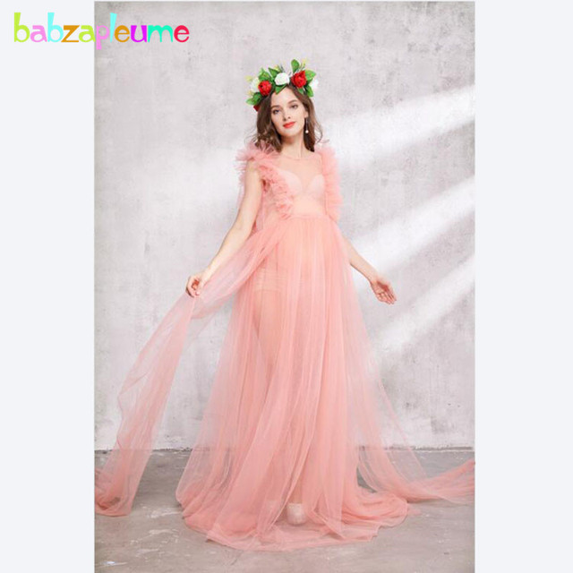 a389e9d75b620 US $32.9 30% OFF|Pregnant Clothes Long Maternity Dresses For Photo Shoot  Plus Size Women Clothing 2018 Korean Pregnancy Photography Dress BC1115-in  ...