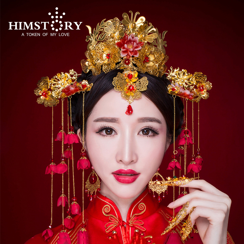 Chinese Traditional Bridal Headdress Long Red Flower Tassels Hairpin Women Butterfly Headwear Wedding Hair Jewelry