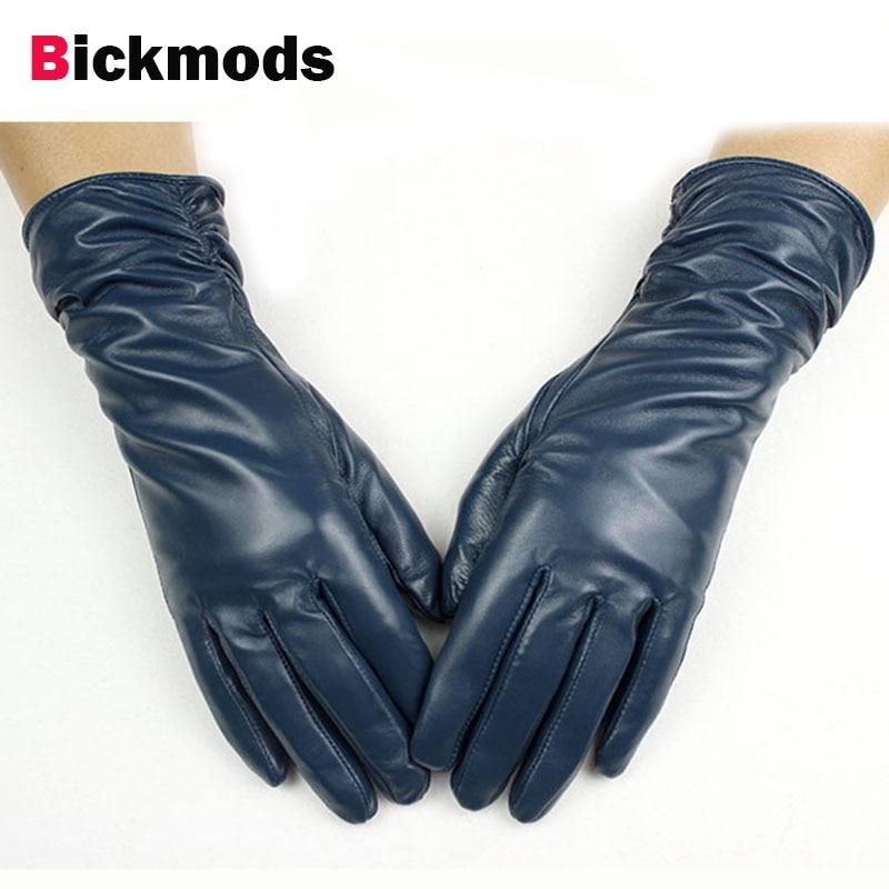 52e16e934008d9 28 cm długości rękawice z owczej skóry kobiet elastyczny styl wielu kolor  aksamitna wyściółka jesienią i zimą ciepłe punktów damskie rękawiczki  skórzane