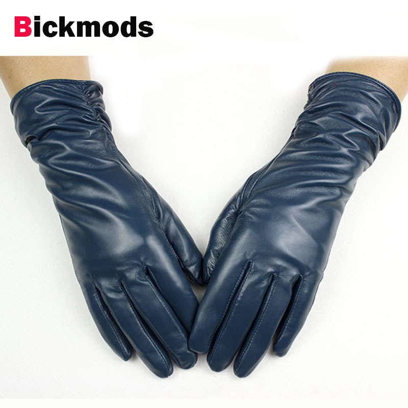 28 cm lange schaffell handschuhe frauen elastische stil multi-farbe samt futter herbst und winter warme punkte weibliche leder handschuhe