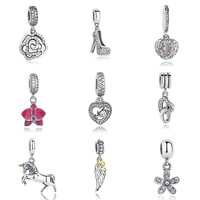 Genuine 925 Sterling Silver Angel Wings Charm With Clear CZ Fit Original Pandora Bracelet Necklace Authentic