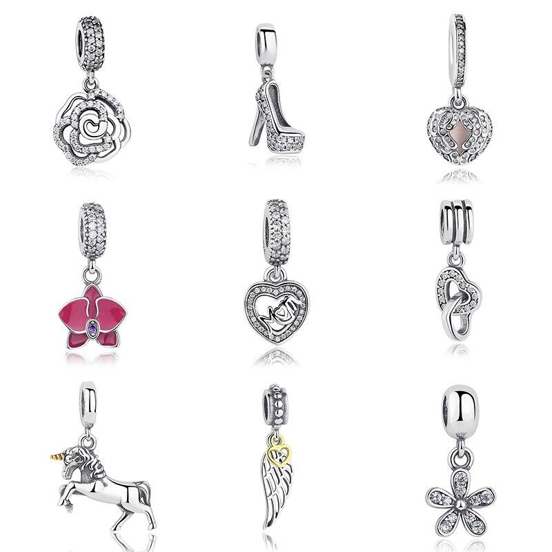 Heißer Verkauf Echte 100% 925 Sterling Silber Anhänger Charme Baumeln Fit Original WST Armband Halskette Authentische Schmuck MAMA Geschenk
