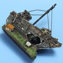 Retro Simulation Wreck Sailing Boat Aquarium Ornament Sunk Ship Destroyer For Fish Tank Aquarium Decoration