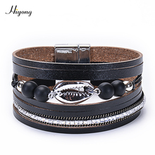 HIYONG Multilayer Leather Bracelet For Women Natural stone Black Matte Shell Wrap Bracelets & Bangles Femme Jewelry White