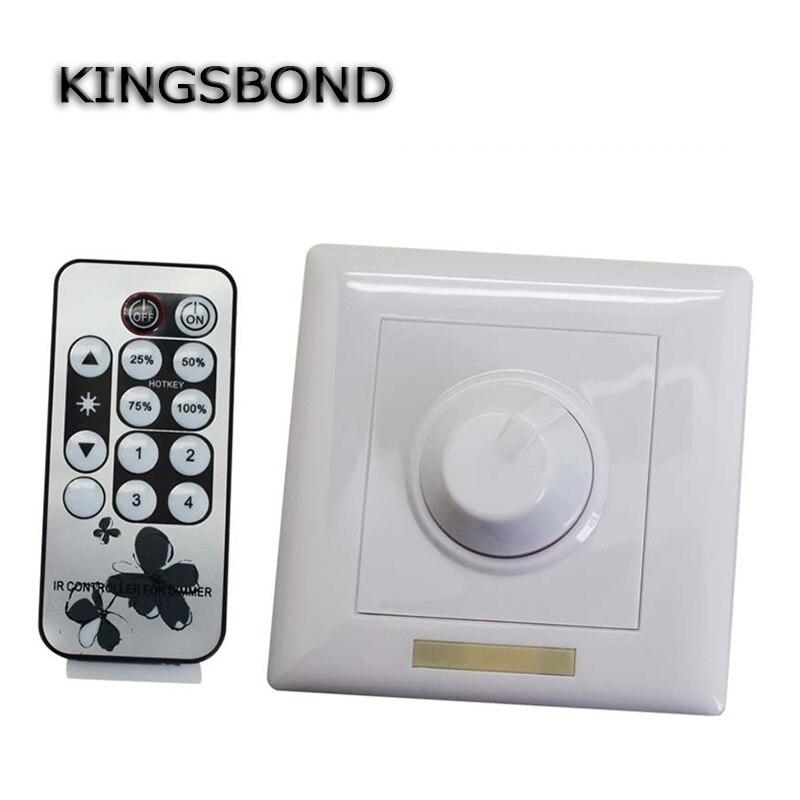 110V 120V 220V 240V 300W 8A IR Knob PWM Triac LED Dimmer Switch For E14 E27 GU10 Dimmable Spot Lights
