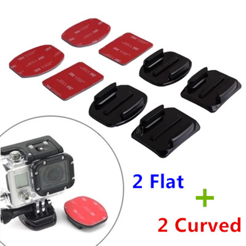 Galleria fotografica Sj4000 Adhesive Sticker For GoPro Hero 5 4 3 Flat Curved Mount for Sjcam Xiaomi Yi 4k Go Pro Session Action Camera Accessories