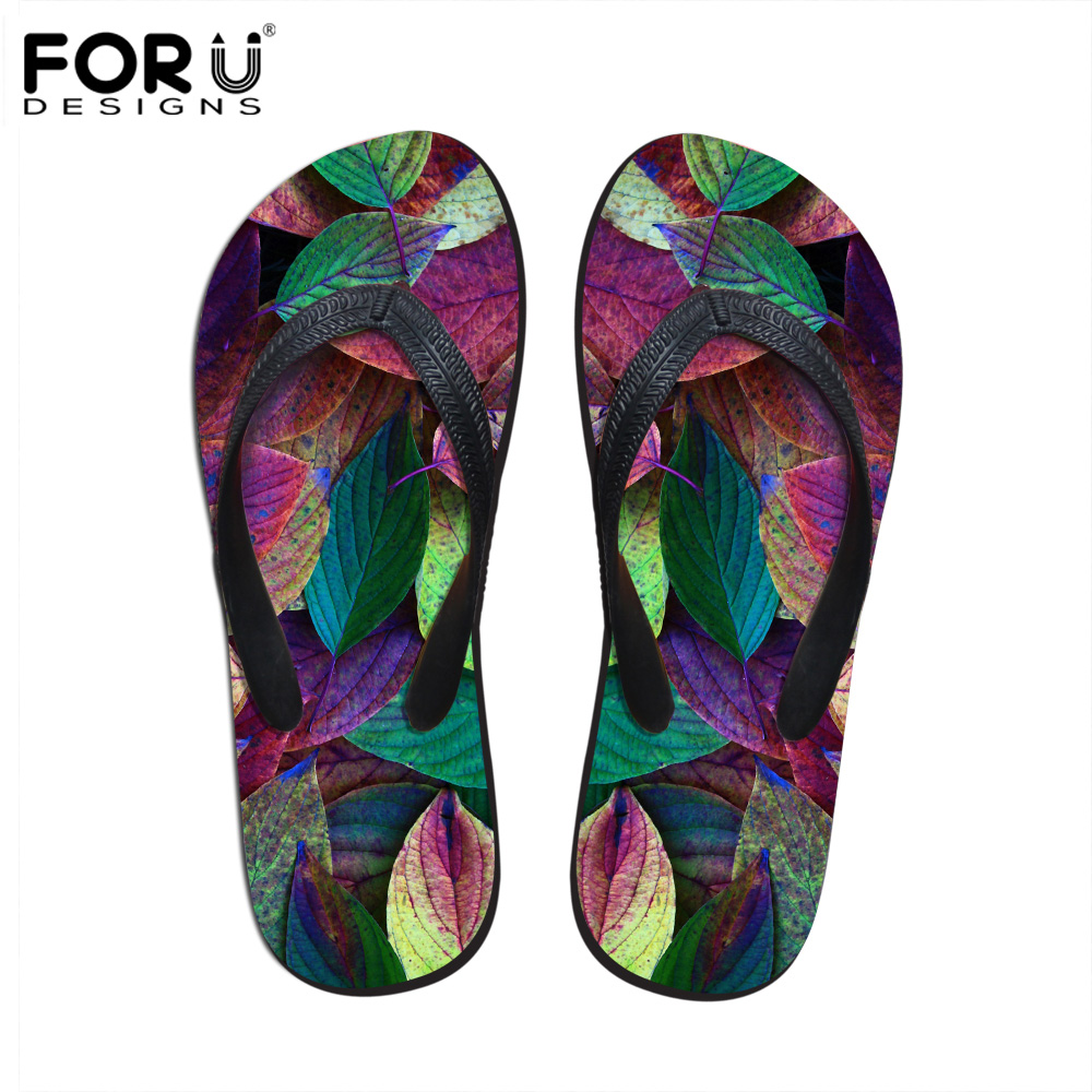 Flip Flops Women's Shoes Forudesigns Fashion Womens Summer Beach Slippers 2018 Novelty Floral Printed Rubber Flip Flops For Woman Female Sandals Shoes Modern Techniques